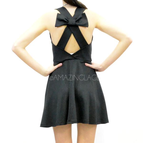 Black open bow back skater dress