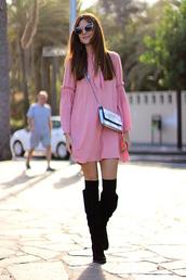 marilyn'scloset,blogger,dress,bag,shoes,sunglasses,pink dress,long sleeve dress,crossbody bag,metallic bag,knee high boots,boots