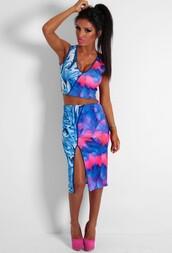 skirt,midi skirt,multi print