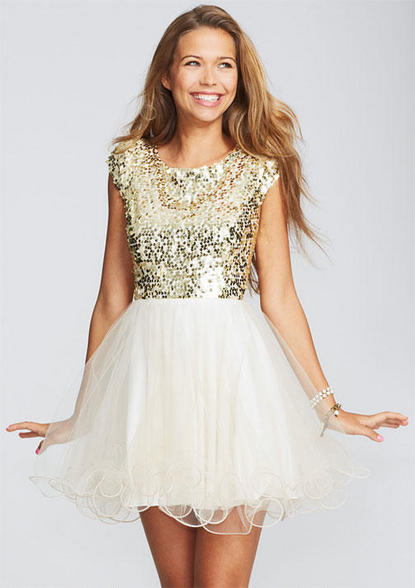 dress tulle Cap sequin and sleeve