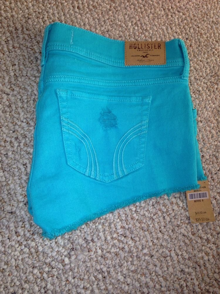 BNWT Womens Juniors Hollister Shorts Denim Cutoff Sz 9 Cute | eBay