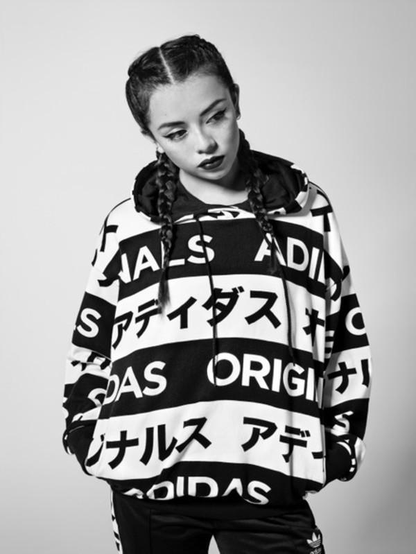 adidas Originals - Japan Typo Aop Hoodie Black / White Selected Sneakers & Streetwear