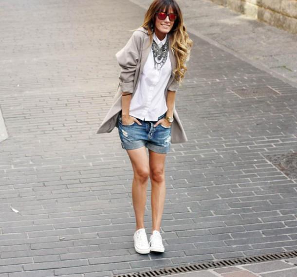 rebel attitude blogger coat ripped shorts white shirt shoes shorts shirt