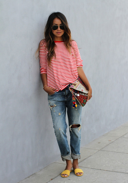 sincerely jules t-shirt jeans bag shoes jewels stripes striped shirt sunglasses hair accessory calvin klein tommy hilfiger handbag style sweater long sleeve dress long sleeves bracelets shirt shit happens ripped jeans flats flip-flops sandals stripes red white long shirt
