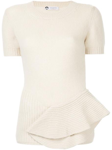 blouse women draped nude wool top