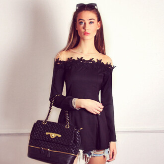 top black top long sleeves off the shoulder lace trim sheer panel pleated top tunic dress