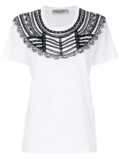 Valentino - lace bib T-shirt - women - Cotton - M, White, Cotton