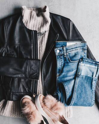 sweater grey sweater jacket black jacket pants blue pants shoes pink shoes