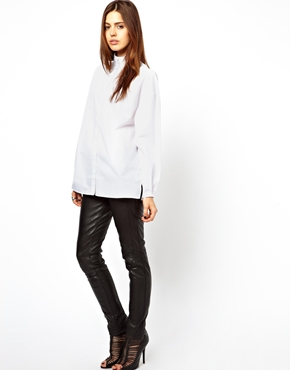 ASOS | ASOS Shirt with High Neck and Balloon Sleeve at ASOS