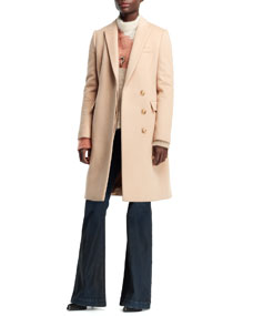 Stella McCartney Florence Fitted Asymmetric Coat, Open-Neck Abstract Mohair-Blend Sweater & 1970s Flare-Leg Denim Jeans