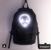 bag,black,backpack,alien,tumblr,neon,glow in the dark,instagram,grunge,pale,pale grunge,cyber ghetto,bookbag,galaxy print,neon light,cute,black backpack