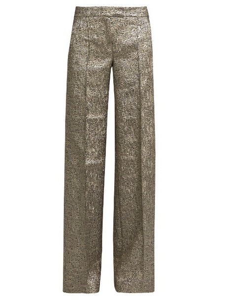 RACIL Libra wide-leg metallic-brocade trousers in gold