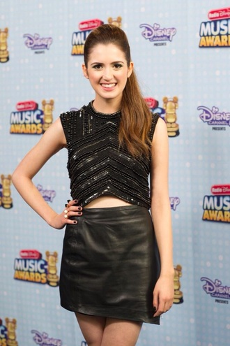 top disney austin and ally radio disney sparkle black glitter skirt v neck leather laura marano sequin top silver sequin sequins black leather skirt
