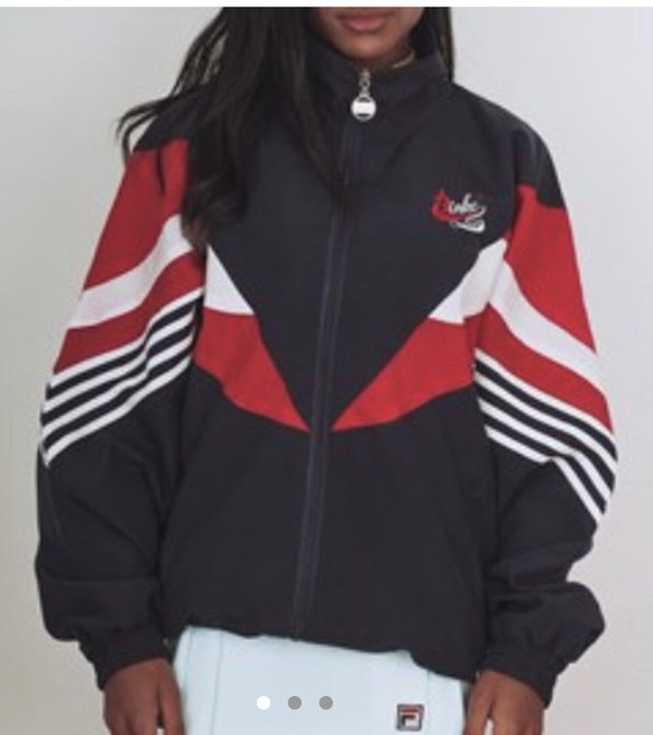 jacket navy red and white windbreaker
