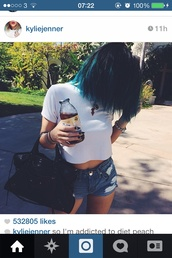 belt,shirt,white top,kylie jenner,kardashians,blue hair,brandy melville,white shirt,t-shirt,white,shorts