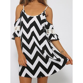 dress black and white stripes cut-out trendy summer cute girly fashion style rose wholesale-jan