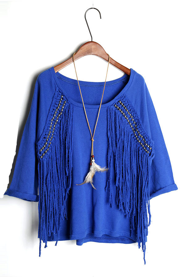 Bohemian Blue T-shirt with Tassel [DLN0264] - PersunMall.com
