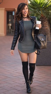 jacket,black,black leather jacket,leggings,knee high socks,combat boots,punk,knitwear,grey,green,olive green