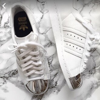 shoes white metal toe leather superstar adidas