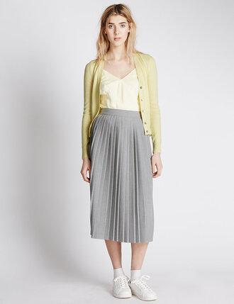 skirt midi skirt pleated skirt grey skirt