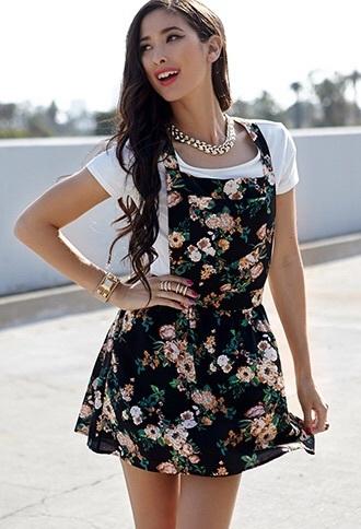 dress overall dress floral dress overalls