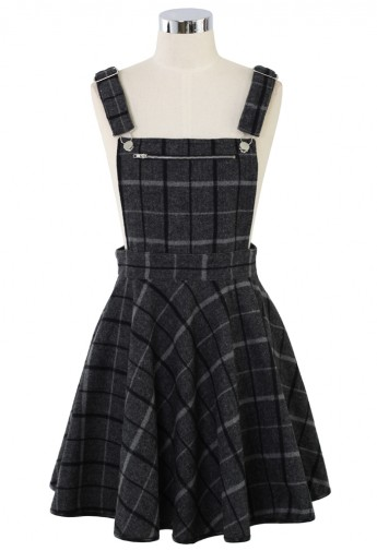 Laid Check Wool-blend Pinafore Dress - Retro, Indie and Unique Fashion