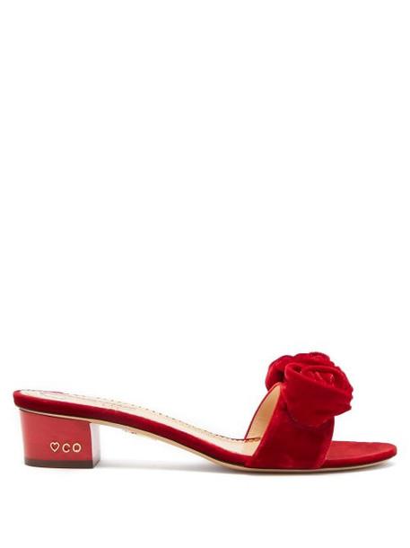 Charlotte Olympia - Etta Rose Appliqué Velvet Sandals - Womens - Red