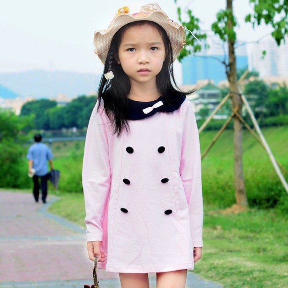 cotton pink fashion dress pink dress girly casual dress girly outfit children children toddler children's kids kids dress she wears fashion long sleeve dress long sleeved dress