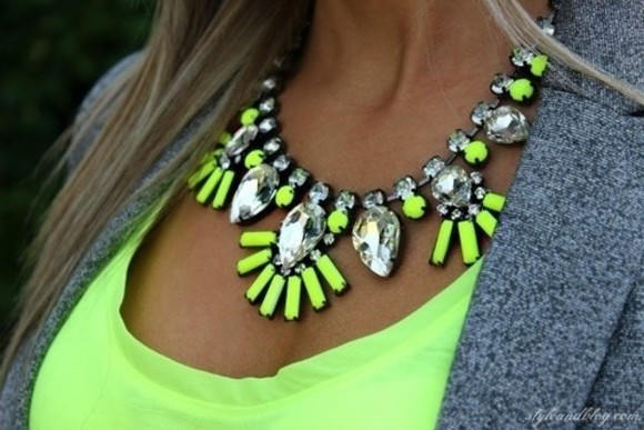grey blazer bag jewels neon yellow statement necklace crystal quartz chunky