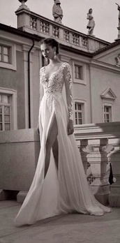 dress,white dress,long sleeve dress,lace dress,prom dress,long prom dress,formal,white,slit cut,long sleeves,lace,elegant,long dress,2014,full length,leg cleavage,perfection,wedding dress,satin dress,berta bridal,prom,not aliexpress