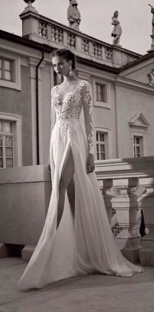 dress white dress long sleeve dress lace dress prom dress long prom dress formal white slit cut long sleeves lace elegant long dress 2014 full length leg cleavage perfection wedding dress satin dress berta bridal