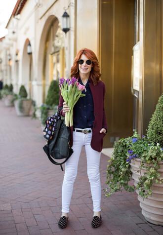 belt jewels bag scarf themiddlepage blogger shirt jacket jeans blazer white pants loafers