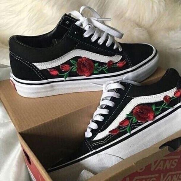 Shoes Vans Black Roses Red Wheretoget
