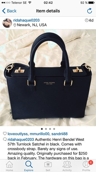 bag henri bendel handbag black bag