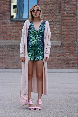 lotta liina love blogger romper shiny pink sandals pink shoes round sunglasses long cardigan pink bag sequins green