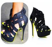 shoes,fsjshoes,black,yellow,neon,trendy,heels,stilettos,fashion,hipster,classy,sexy,strappy heels,instagram,indie,casual,nightwear,clubwear