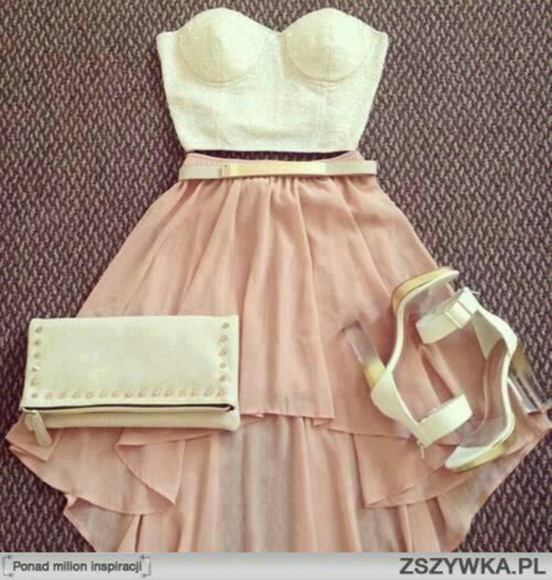 skirt dress prom prom dress fashion short outfit white high heels top belt prom dresses