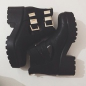shoes,ankle boots,buckles,gold buckles,black ankle boots,boot,boots,cut out ankle boots,mid heel boots,black,andrea russett,leather,booties,grunge,platform shoes,black boots,cleated sole,cleated sole platforms,buckle boots,chelsea boots heeled chunky,chunky boots,fall outfits,tumblr shoes,track sole,platform boots,grunge shoes,chelsea boots,chelsea,black chelsea,classsy,cute,classy,pink,magical,tumblr,grunge boots,gold,pretty,love