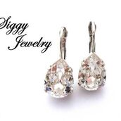 jewels,siggy jewelry,earrings,clear crystal,swarovski,pear earrings,teardrop,tear drop earrings,sparkle,bling,elegant,fashion,wedding,bridal,etsy,shopping,rhinestone jewelry,crystal earrings,clear crystals,sassy,diva,swag,style