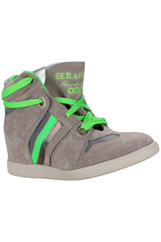 shoes serafini fluo green grey wedges sneakers cool funny wild free summer neon