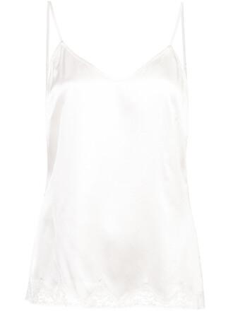 top women lace white silk