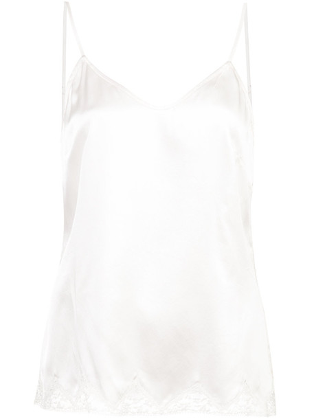 MORGAN LANE top women lace white silk