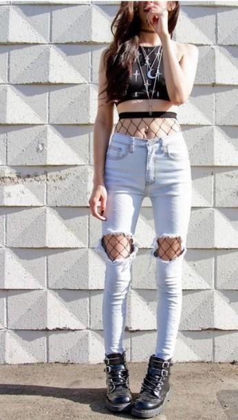 Tights grunge punk punk rock style stockings fishnet tight alternative fashion - Wheretoget