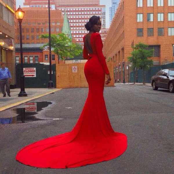 dress red dress black hair red street formal dress model beautiful