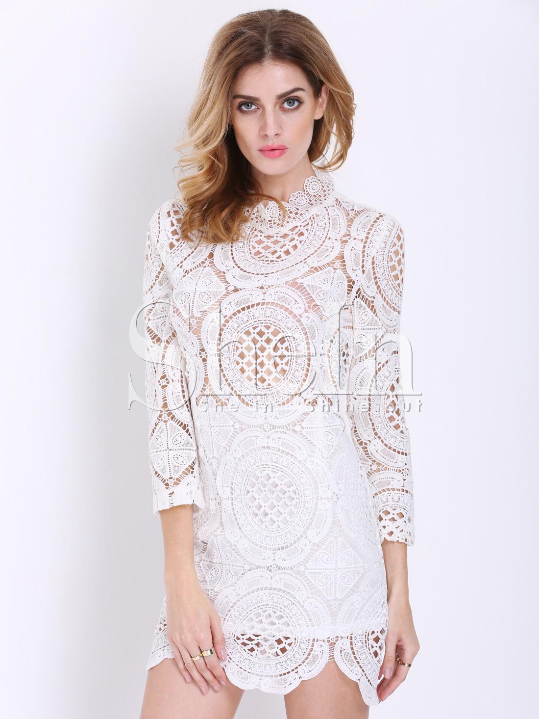 907829640001 White Long Sleeve Hollow Lace Dress -SheIn(Sheinside)