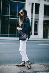 shoes,black leather jacket,white jeans,black bag,blogger,lace-up shoes,sunglasses