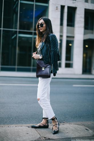 shoes black leather jacket white jeans black bag blogger lace-up shoes sunglasses