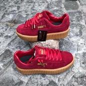shoes,puma sneakers,puma creepers,rihanna,puma,suede pumas,red,creepers,red puma creepers