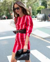 dress,mini dress,stripes,bag,sunglasses,belt,earrings