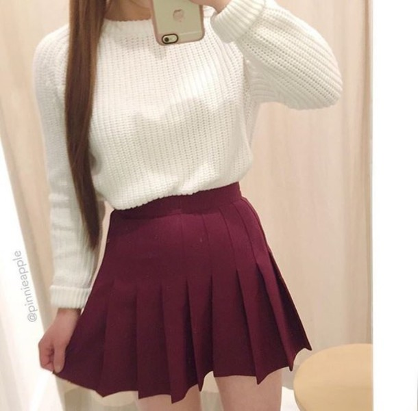 Sweater white white sweater winter outfits winter sweater cute cute outfits skirt skater ...